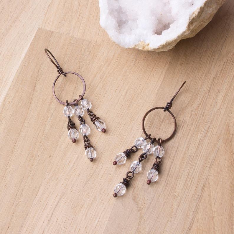 Copper chandelier earrings  copper hoop with clear bead image 0
