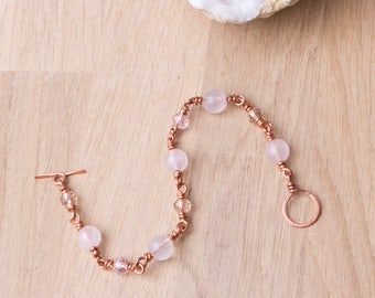 Copper bracelet - Rose quartz gemstone and pink bead copper bracelet   Copper jewellery   Pink rose quartz jewelry   Wire wrapped links