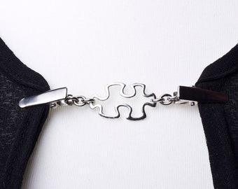 Cardigan clasp clips - Silver jigsaw piece sweater clip | Shawl chain | Pashmina pin | Sweater fastening | Wrap holder | Cardigan guard
