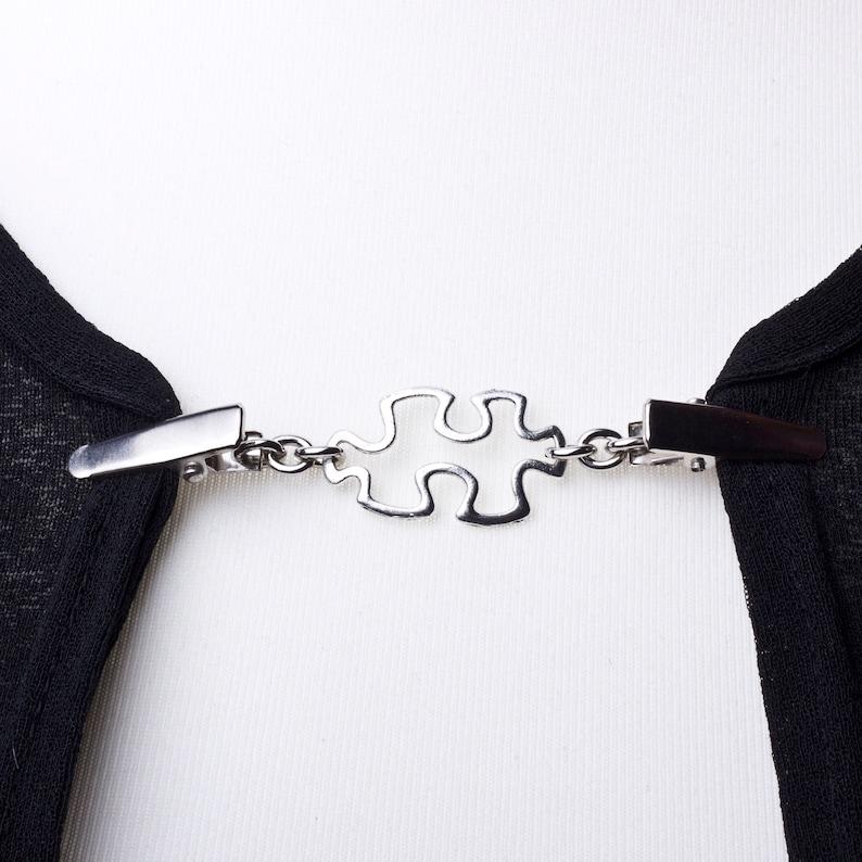 Cardigan clasp clips  Silver jigsaw piece sweater clip  image 0