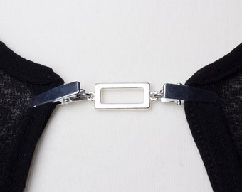 Cardigan clasp clips - Silver rectangle sweater clip | Shawl chain | Pashmina pin | Sweater fastening | Wrap holder | Cardigan guard
