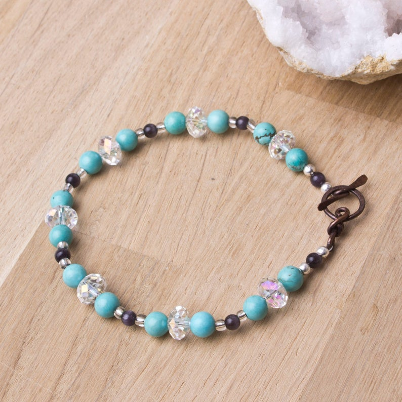 Turquoise bracelet  gemstones with cats eye glass and image 0