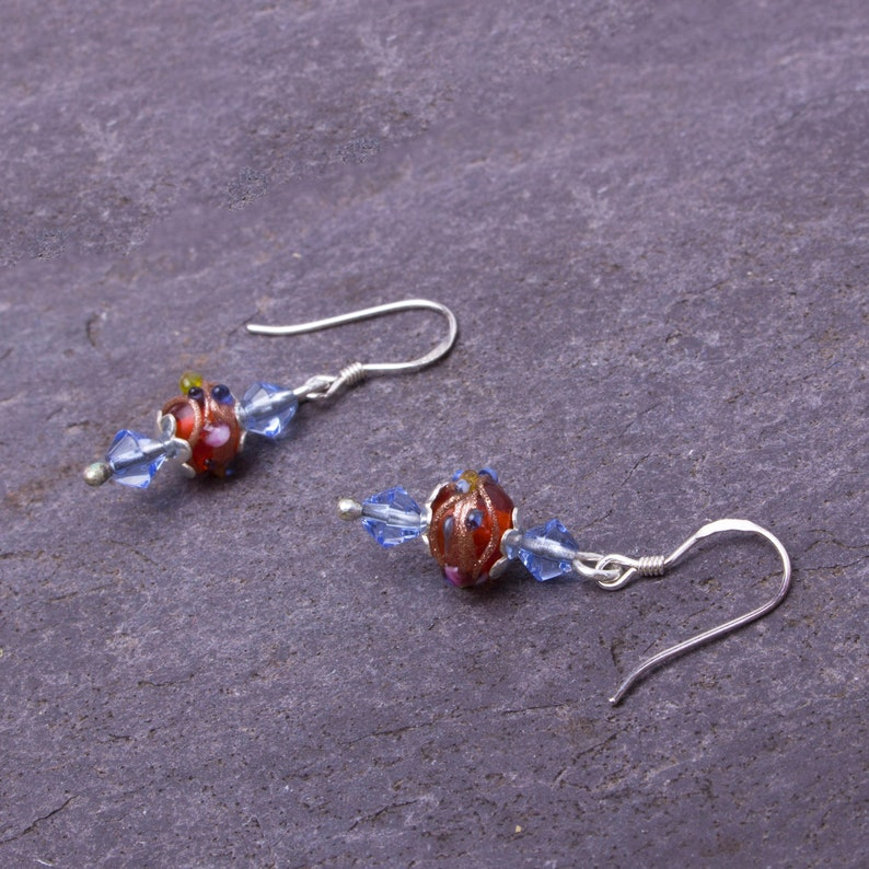 Indian lampwork dangle earrings  Red glass and blue bead image 0