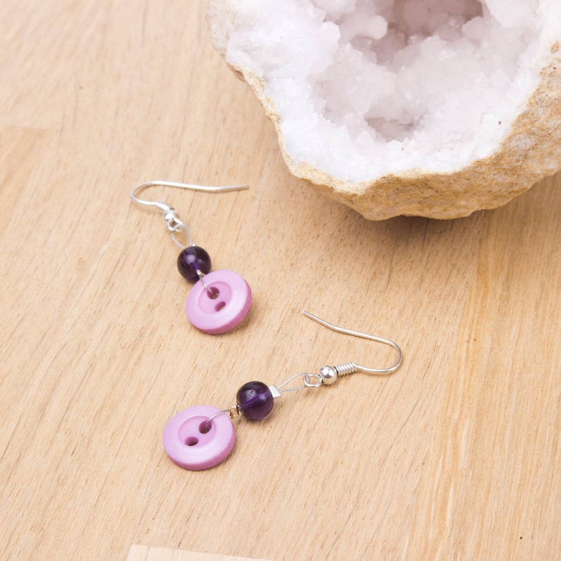Pink button earrings with purple glass beads  Pastel Button image 0
