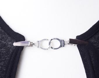 Handcuffs Cardigan clip chain - Silver freedom handcuff sweater clip | Shawl chain | Pashmina pin | Sweater fastening | Wrap holder