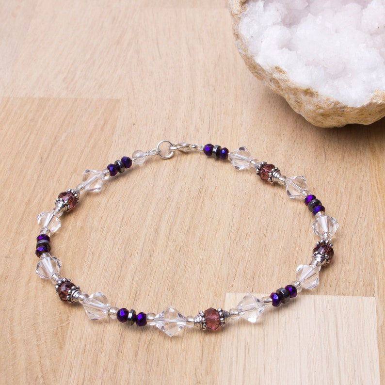 Beaded Anklet  Hematite purple and clear bead ankle bracelet image 0