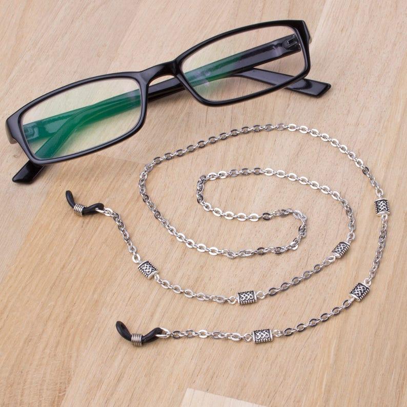 Silver eyeglasses holder chain  knotwork link glasses chain  image 0