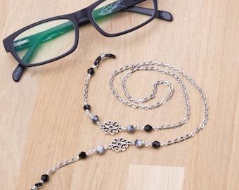 Elegant glasses chain - Sesame jasper gemstone silver link eyewear cord | Neck chain lanyard | Silver spectacle chain | Eyeglasses holder