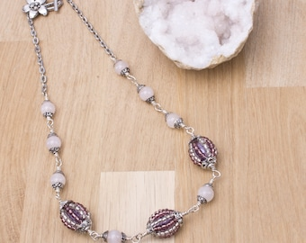 Rose Quartz and beaded bead necklace - Pink gemstones with handmade purple and silver beaded beads   Statement necklace   Gift for her