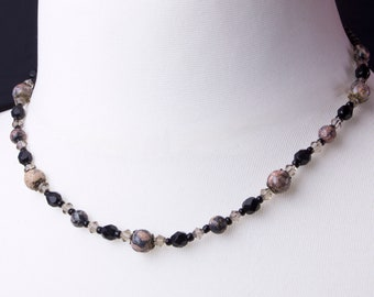 Gemstone necklace - leopard skin agate brown and black bead necklace   Leopardskin agate jewelry   Jaguar Stone Beaded necklace  