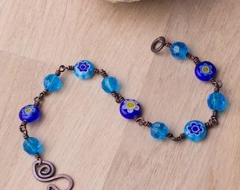 Copper Flower bracelet - Blue daisy Millefiori beaded copper bracelet   Copper jewellery   Millefiori jewelry   Beaded wire wrapped links