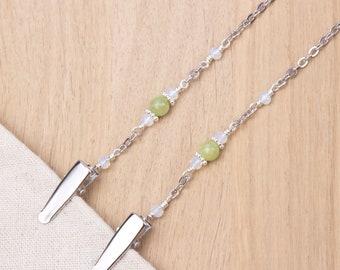 Jade napkin neck chain clips - Green gemstone and opalite bead silver serviette clip napkin chain | Foodie gifts | Napkin holder cord