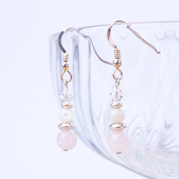 Fertility Earrings Single Bead Mother/'s gift Sterling Silver 925 Pink Gemstones Rose Quartz Earrings Cancer Awareness Friendship gift