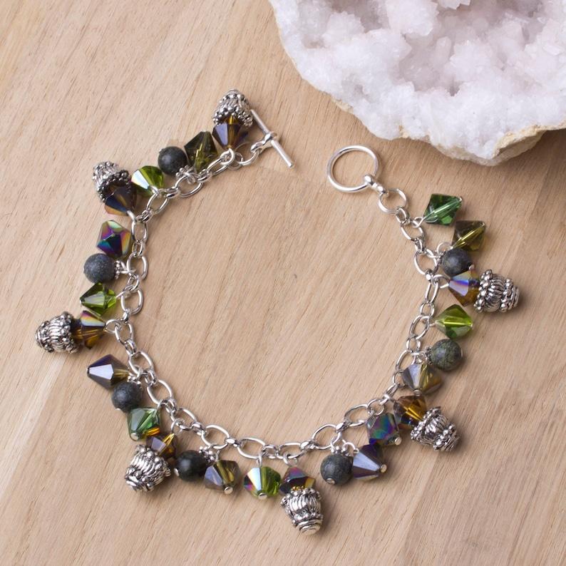 Rainbow Charm bracelet  Serpentine & rainbow glass beaded image 0