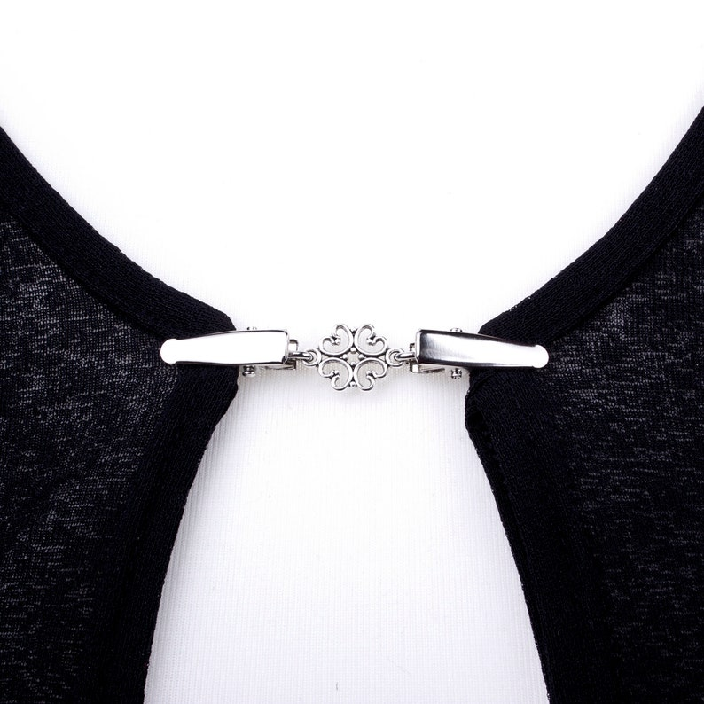 Sweater clips  Silver elegant link cardigan clip  Shawl image 0