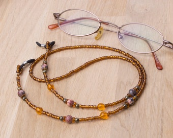 Gemstone eyeglasses chain - Leopardskin agate jasper orange bead glasses chain | spectacle holder | sunglasses cord | eyewear lanyard
