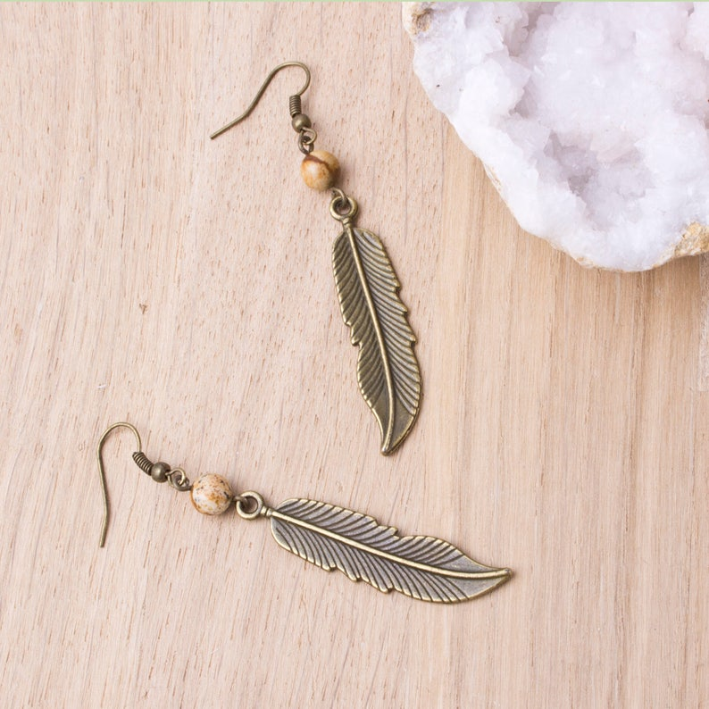Bronze feather earrings with picture jasper  Brown gemstone image 0