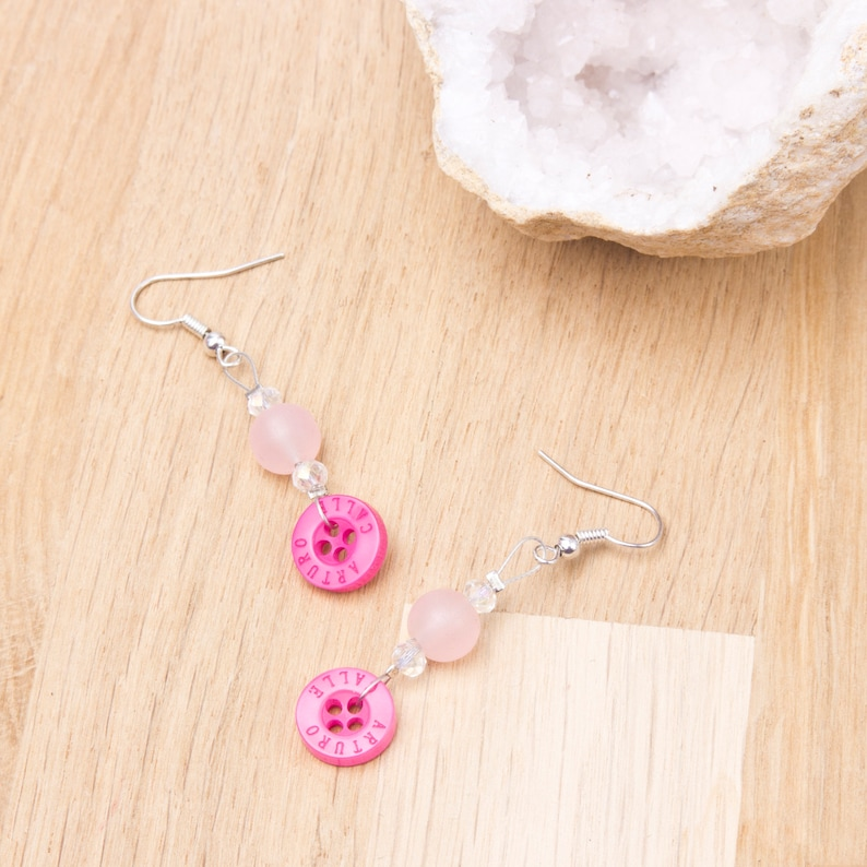 Pink button earrings with pink and sparkle beads  Bright image 0