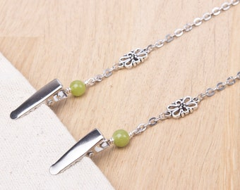 Napkin neck chain clips - Green jade and fancy link silver serviette clip napkin chain | Foodie gifts | Napkin holder cord | Adult bib clip