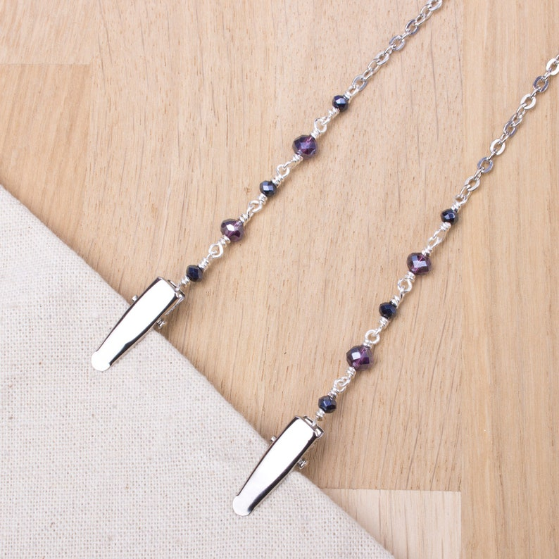 Napkin chain clips  Sparkling purple and grey bead silver image 0