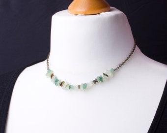 Green Gemstone chip necklace - Jade, Aventurine and Unakite bronze chain necklace   Simple gem chip necklace   Chipstone jewelry