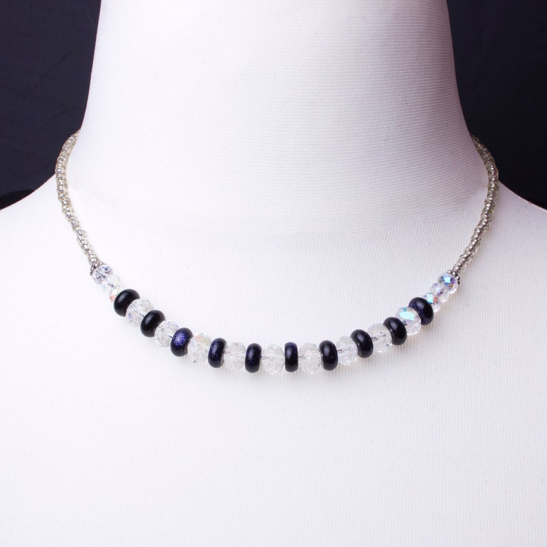 Blue goldstone necklace with iridescent clear faceted beads   image 0
