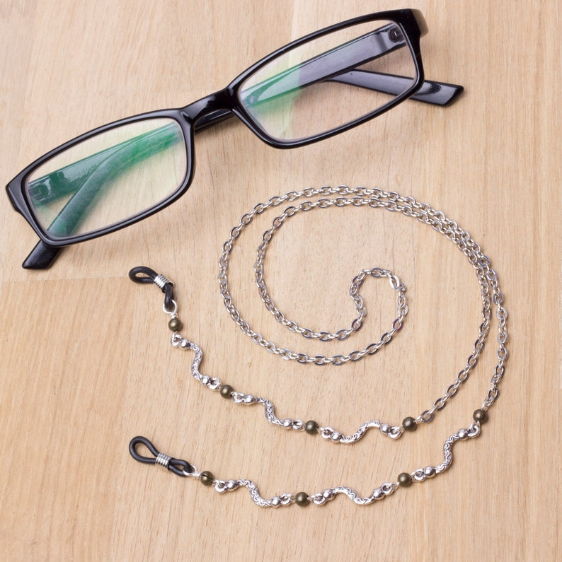 Silver and bronze glasses chain  wiggle link glasses chain  image 0