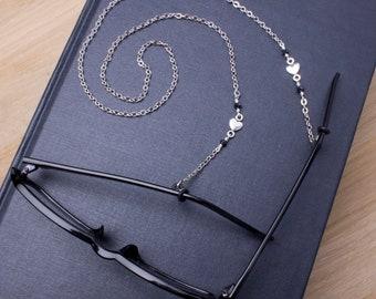 Silver heart eyeglasses lanyard - elegant heart and bead glasses chain | Everyday eyewear neck cord | Sunglasses chain | Eyeglasses holder