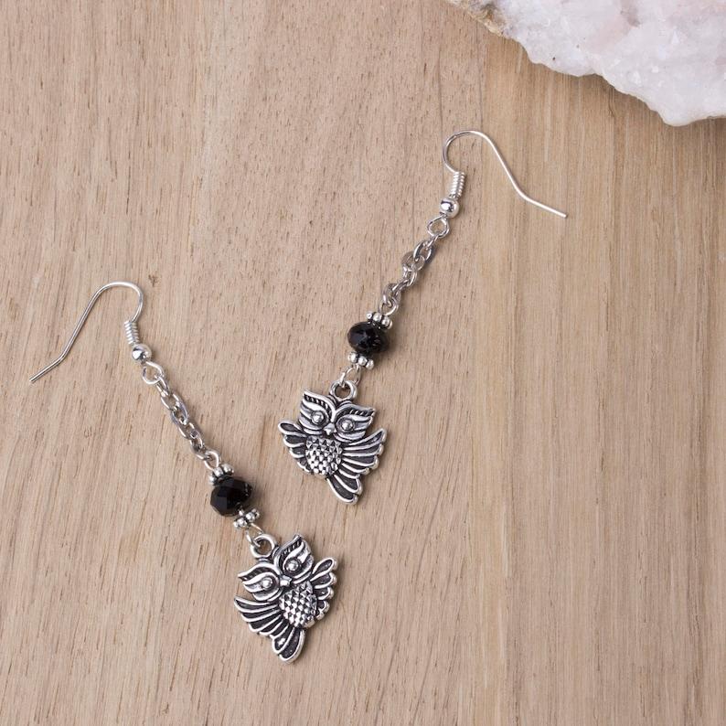 Silver owl earrings  long chain dangle flying bird earrings  image 0