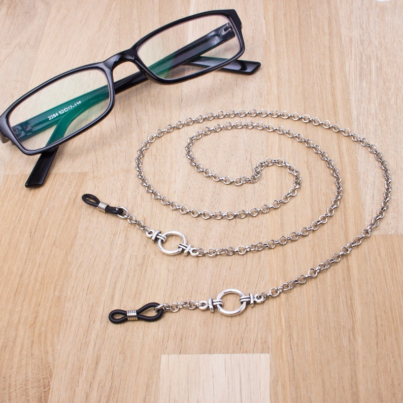 Mens silver eyeglass chain  Belcher chain & ring glasses image 0