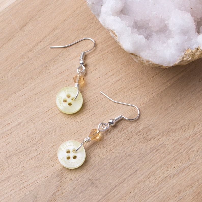 Yellow button earrings with yellow bicone beads  Pastel image 0