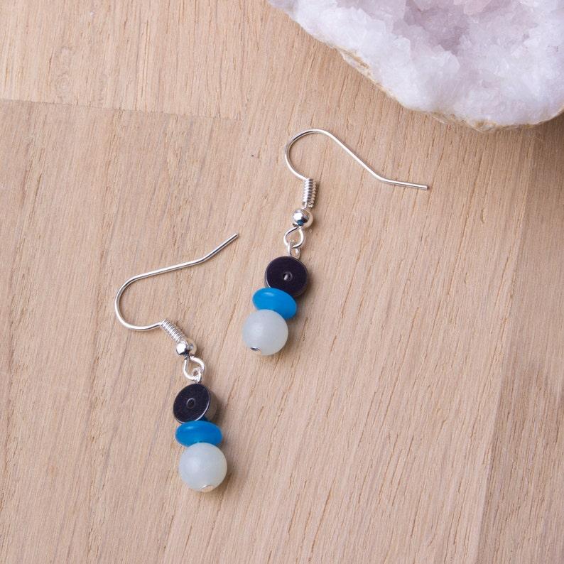 Gemstone earrings   Amazonite and hematite with blue Murano image 0