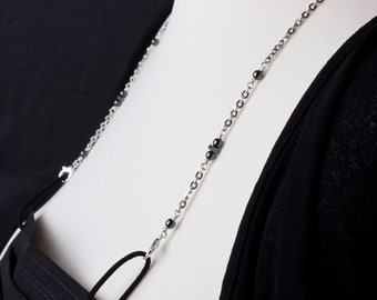 Mask chain - Hematite stone silver face mask strap | Necklace mask holder lanyard | Simple mask chain