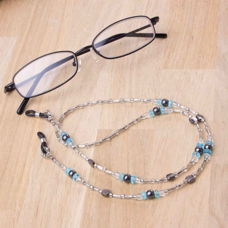 Glasses chain  hematite blue and silver beaded eyeglass image 0