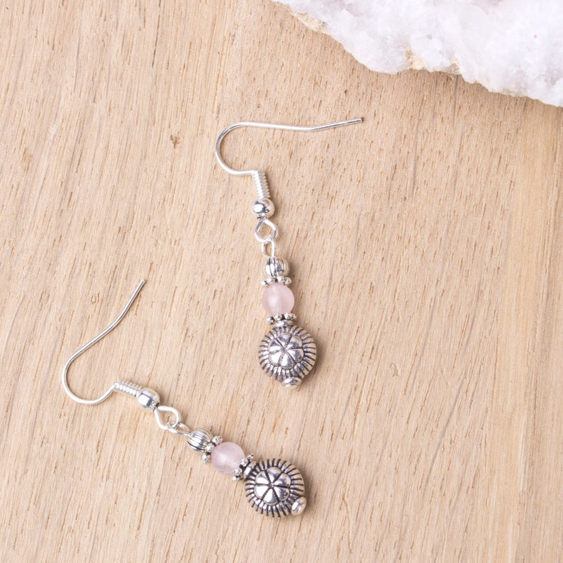Rose quartz ethnic earrings  Gemstone and silver bead small image 0