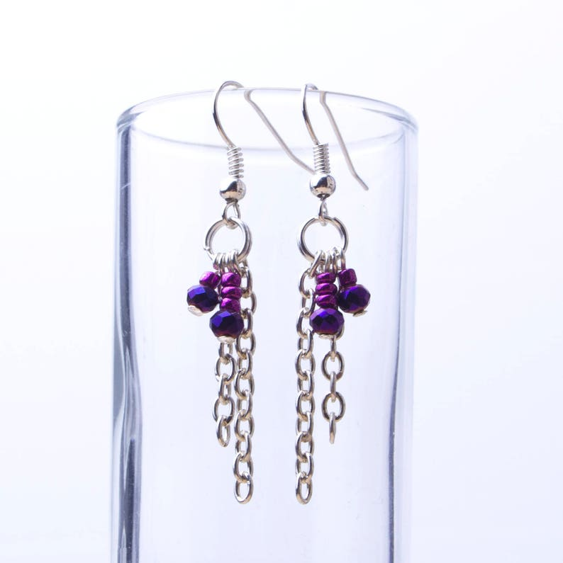 Beaded long chain earrings  pink and iridescent blue beads image 0