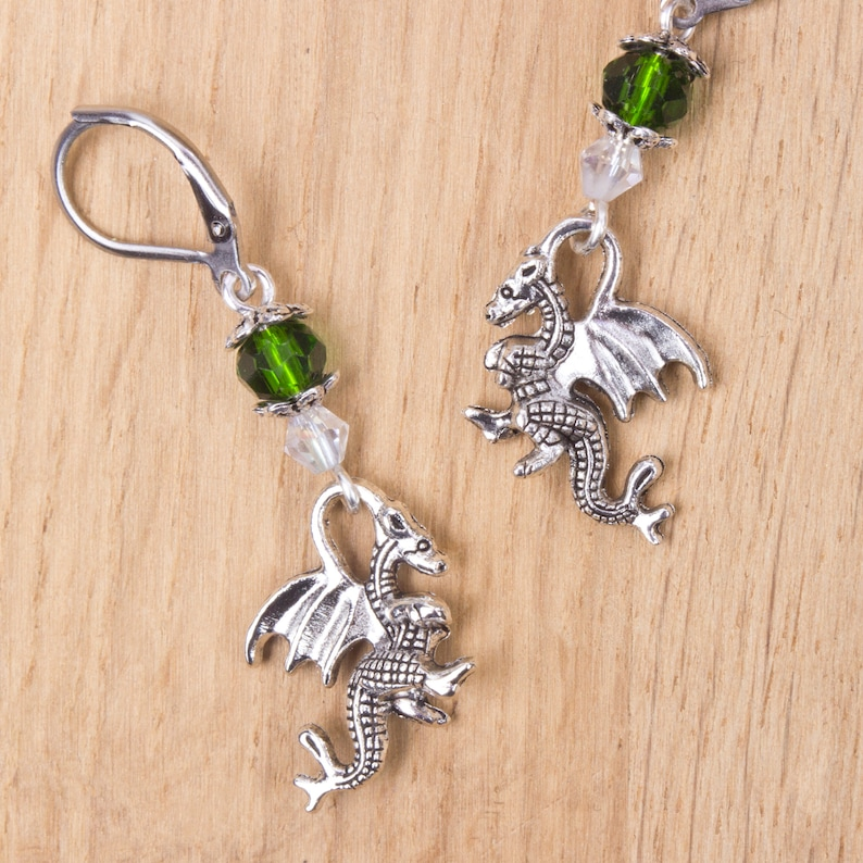 Dragon earrings with green beads  Fantasy jewellery  image 0