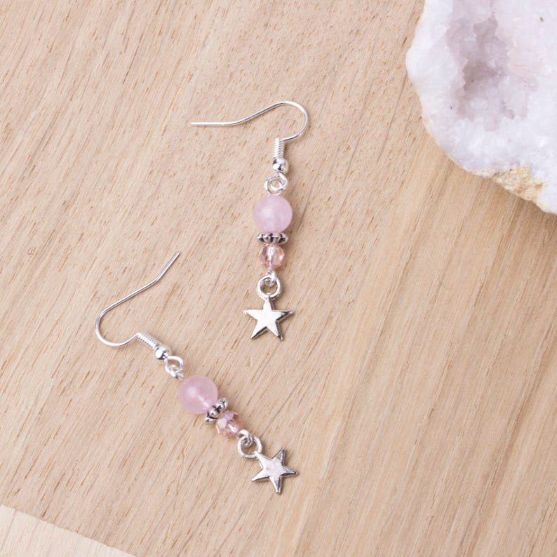 Rose quartz star earrings  Pink gemstone bead and silver image 0