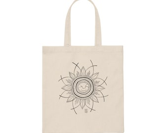 Canvas Zen Flower Tote Bag