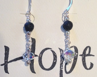 Essential Jewelry Earrings crystal and lava stone
