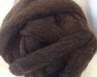 Natural, Chocolate Brown, Wool Roving. Blue-faced Leicester, Rambouillet, Teeswater and East Friesian Blend