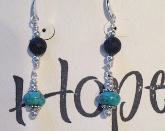 Essential Jewelry Earrings turquoise and lava stone