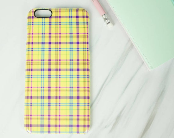 Clueless inspired yellow tartan Cher phone case for Iphone or Samsung phones, Cher print iphone case