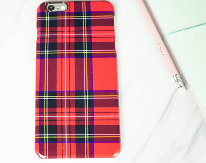 Red tartan print phone case for Iphone or Samsung phones, tartan print iphone case