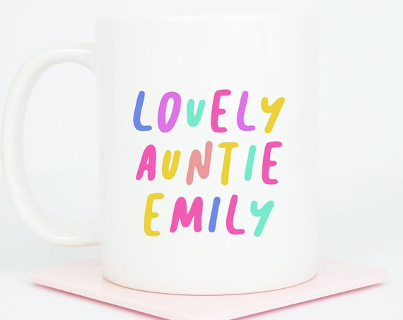 Auntie personalised Auntie mug, bright fun coffee mug, lovely auntie gift for auntie's birthday, personalise with your Auntie's name