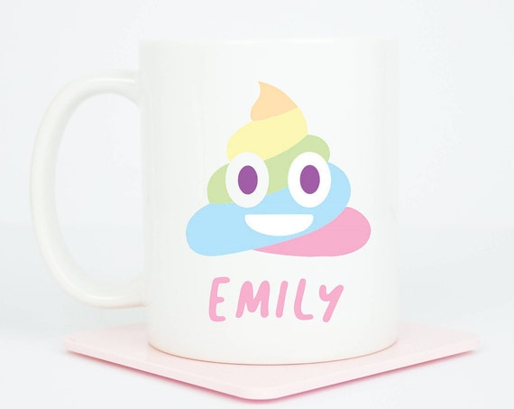 Personalised Emoji poo mug, rainbow poo mug, cute gift mug