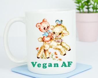 Vegan AF mug, happy vegan coffee mug