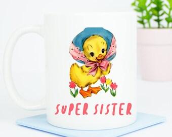 Super Sister mug, personalised lovely gift for any sister, lovely gift, the back can be personalised, best sister birthday gift