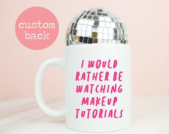 Makeup tutorials mug, personalised back, make up youtube instagram beauty tutorials, beauty, make-up gift, pink or back