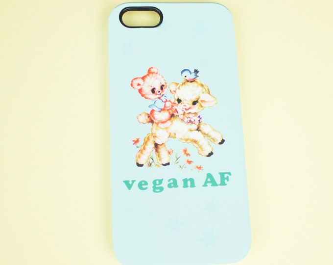Vegan AF print phone case for Iphone or Samsung phones, vegan af print iphone case